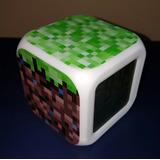 Minecraft Reloj Led Alarma, Temperatura Y Cambia De Colores