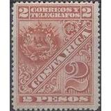 Costa Rica 1892 Sc #42 Escudo 2p Con Matasello.