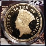 1870 S Replica De Oro De Us $ 3. Material: Cu, Acodado En El