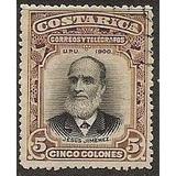 Costa Rica 1901 Sc #53 Jesus Jimenez 5c Con Matasello.