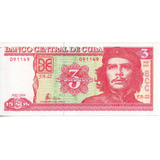 Billete De Cuba 3 Pesos Unc Apo