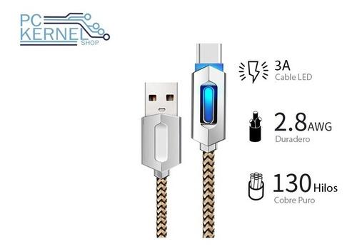 Cable Usb Tipo C Blindado Led Iluminado Samsung Sony Huawei