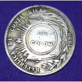 Moneda Antigua De Costa Rica Plata Resellada  1880-1923 Jmg