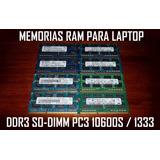 Memoria 4gb Ddr3 So-dimm 10600/ 1333 Ram Para Laptop