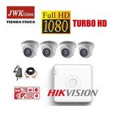 Kit 4 Camaras Vigilancia Domo Hikvision Turbo Hd 1080p Jwk