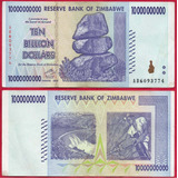 Billete De Zimbadwe 10,000,000,000  Dollar 2008, Circ.mlc .
