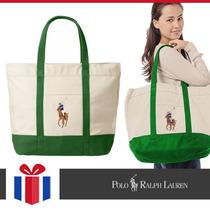 Ralph Lauren Bolso Lona Natural Y Verde - Original Nuevo