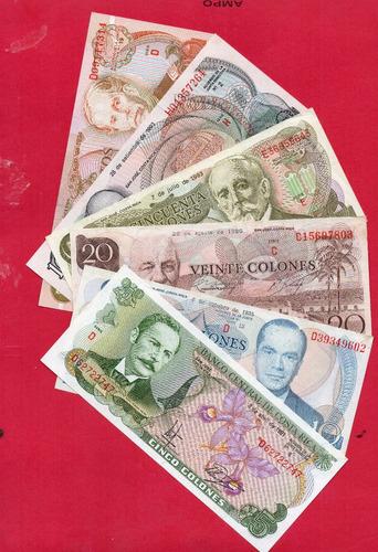 Billete De Costa Rica Set De 5-10-20-50-100-500 Colones Aunc
