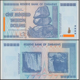 Billete De Zimbabwe De $100 Trillones De Dólares