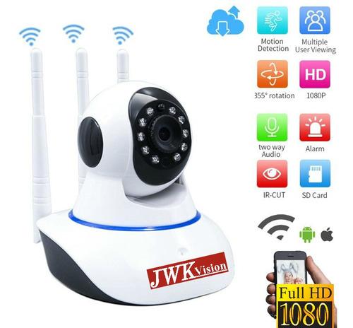 Camara Seguridad Wifi 1080p 3 Antenas Nocturna Motorizad Jwk