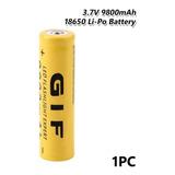 Batería 18650 3.7v Recargable Pila Litio 9800mah Foco Linter