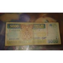Billete 5000 Mil Colones Serie A Costa Rica.