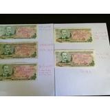 Billetes Antiguos De Costa Rica, 5 Colones , 5 Fechas, Rema.