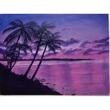 Playa Purpura, Acrílico, Obra De Arte Cuadro