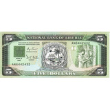 Billete De Liberia 5 Dolares Unc Apo