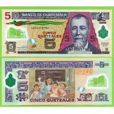 Billete De Guatemala 5 Quetzales 2013,p-122d. Unc. Mlc