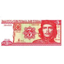 Billete Cuba 3 Pesos, Che Guevara Unc