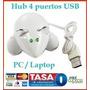 Hub Ratón Blanco 4 Puertos Usb Mini Laptop Pc Mac Galaxy New